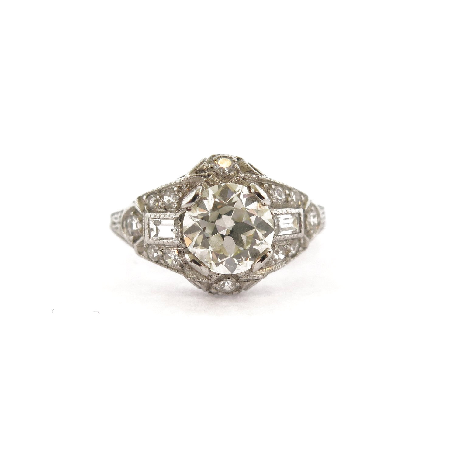 1.25 ct Diamond Ring with Baguettes