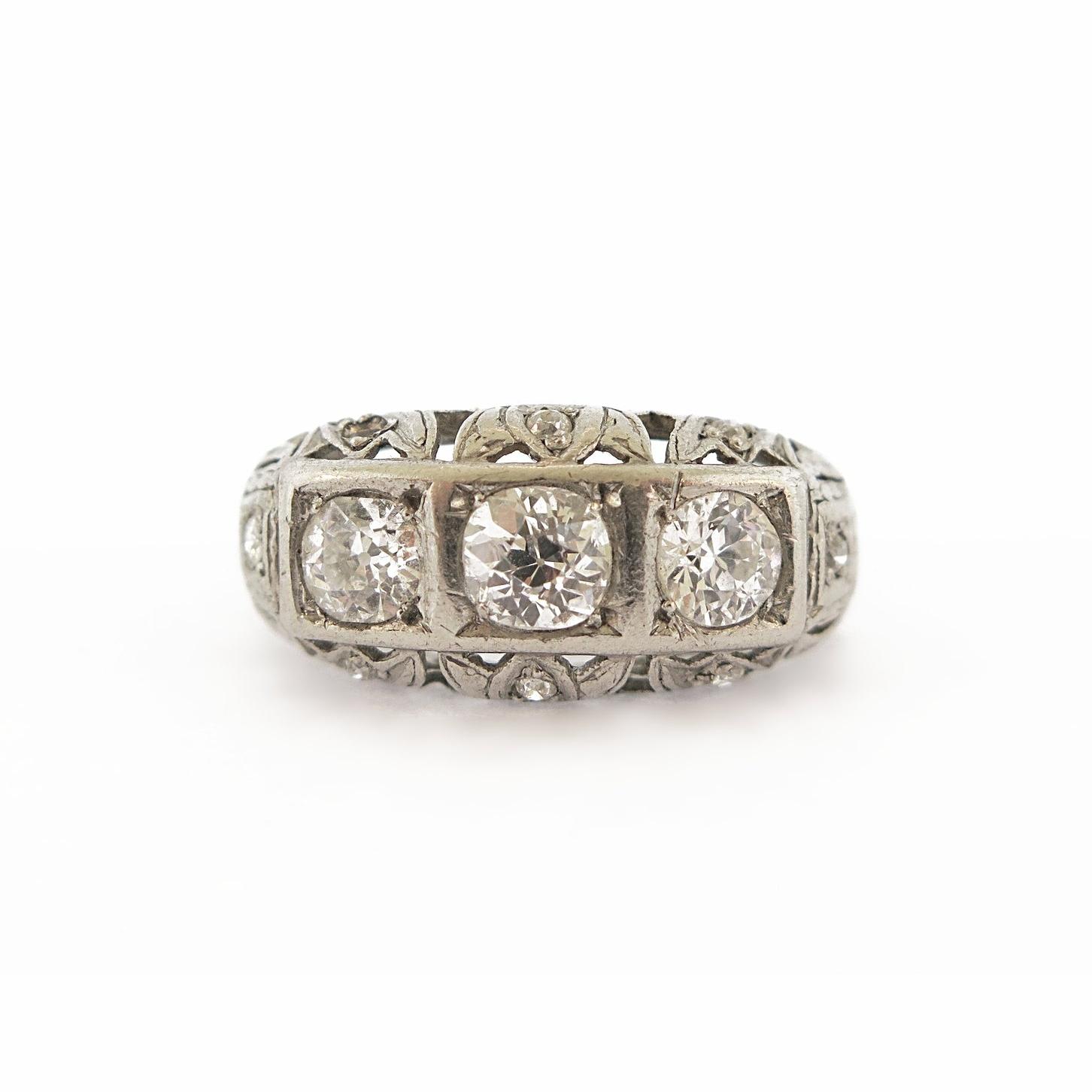 Edwardian Diamond Floral Platinum Ring