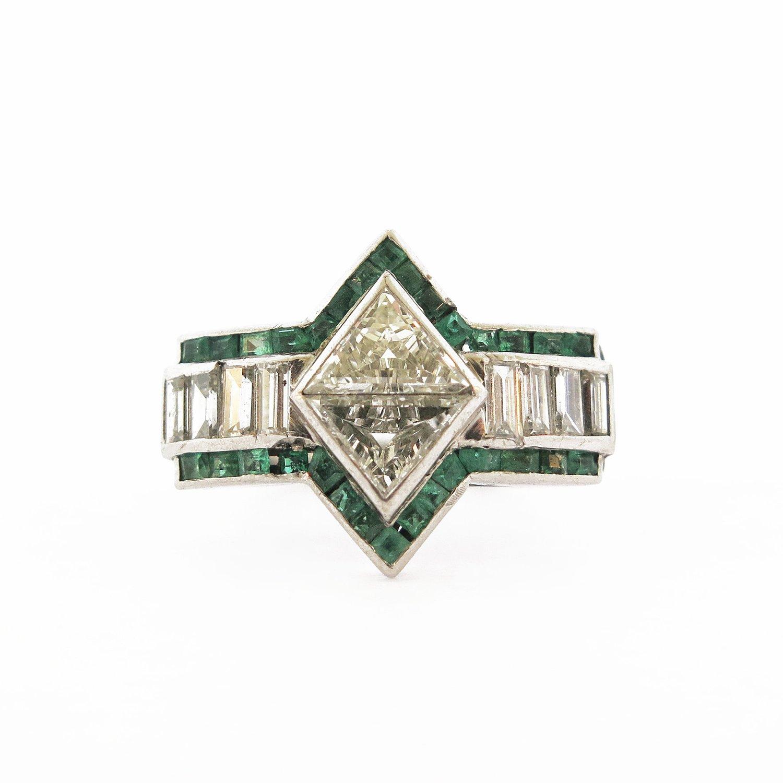 Deco Trillion & Baguette Diamonds with Emeralds