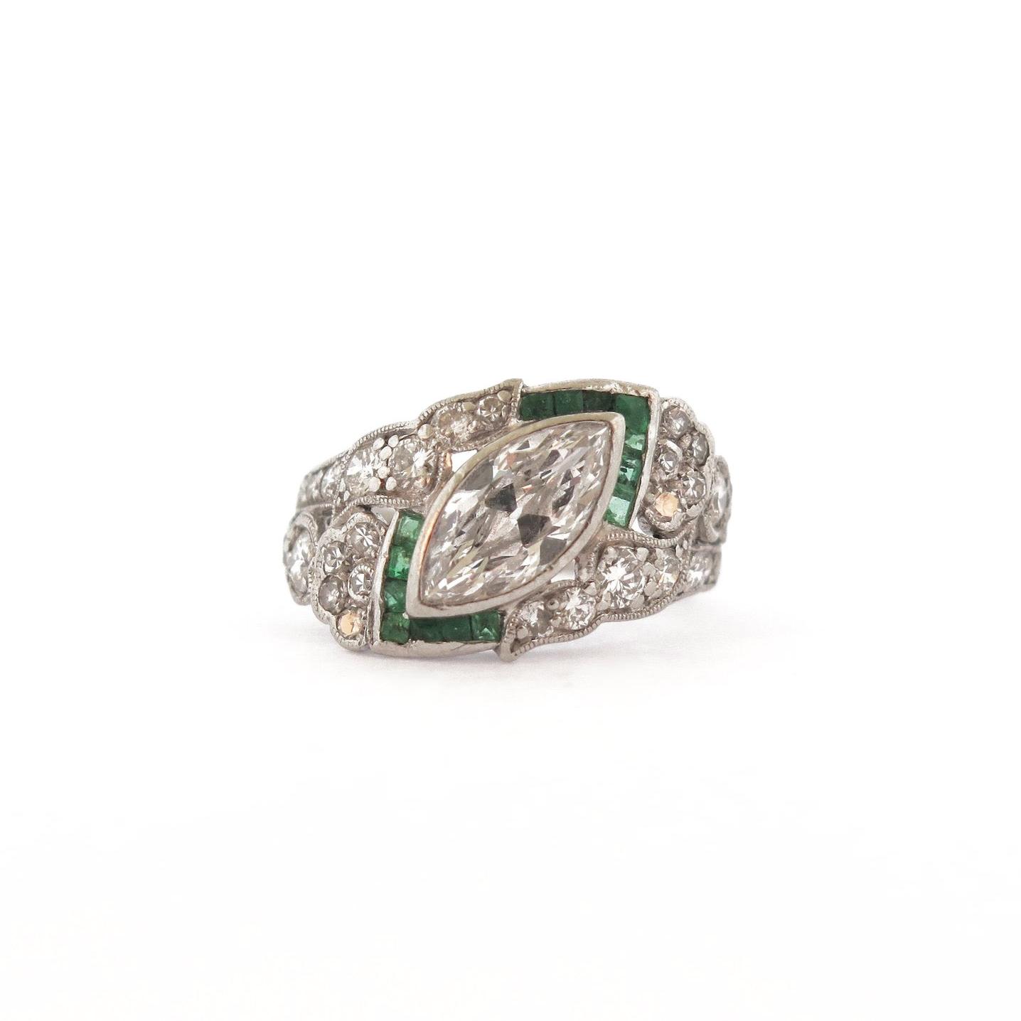 Art Deco Diamond & Emerald Platinum Ring