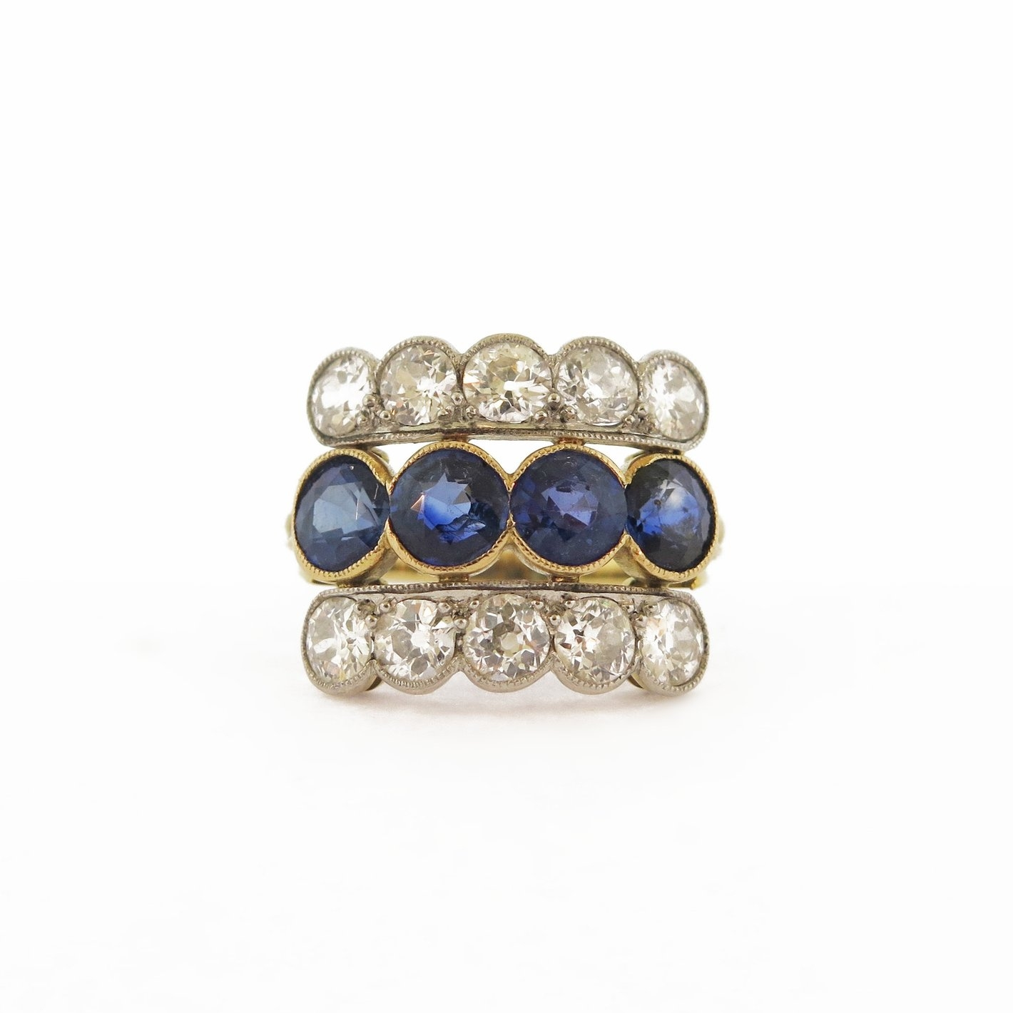 Victorian Diamond and Sapphire Triple Band Ring