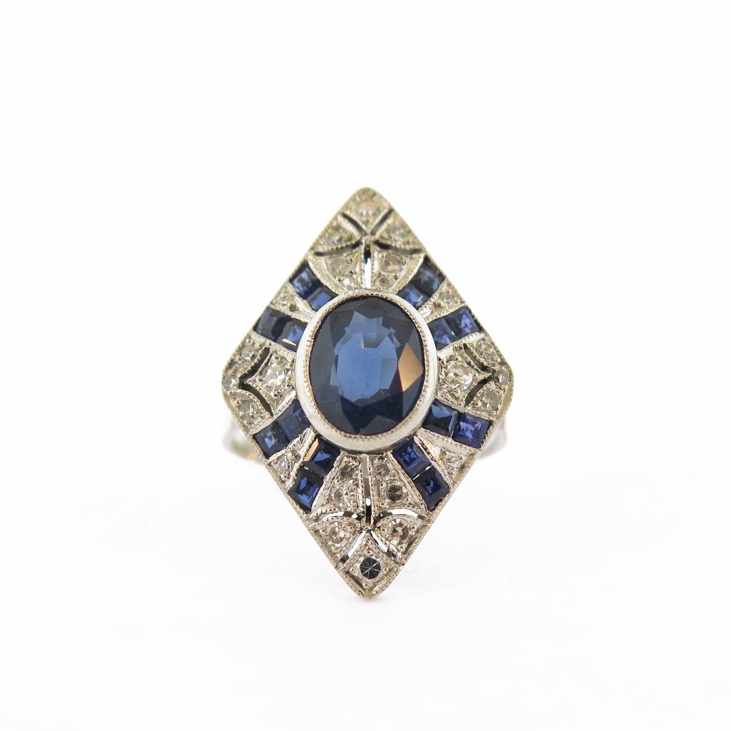20th Century Diamond and Sapphire Platinum Ring