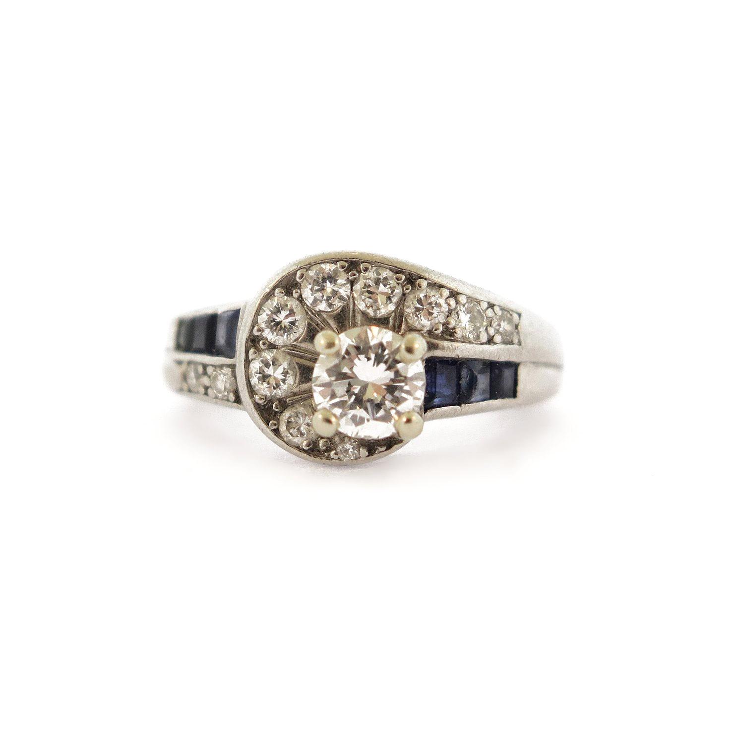 1950s Diamond & Sapphire Accent Ring