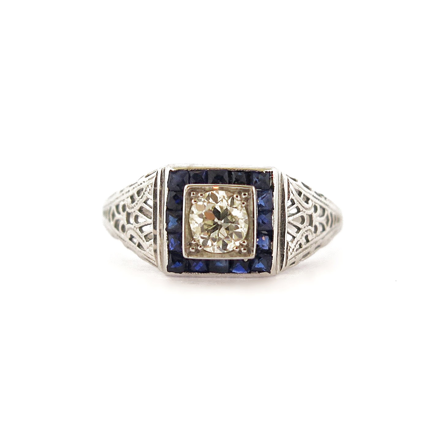 Diamond and Sapphire Accents Filigree Ring