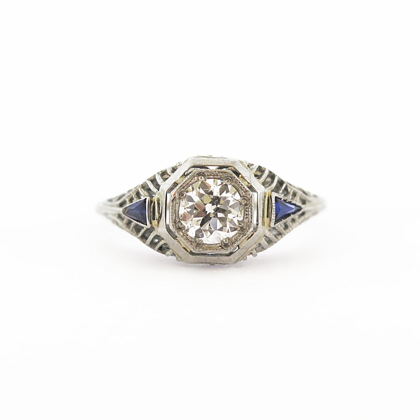 Deco Octagonal Diamond & Sapphire Ring