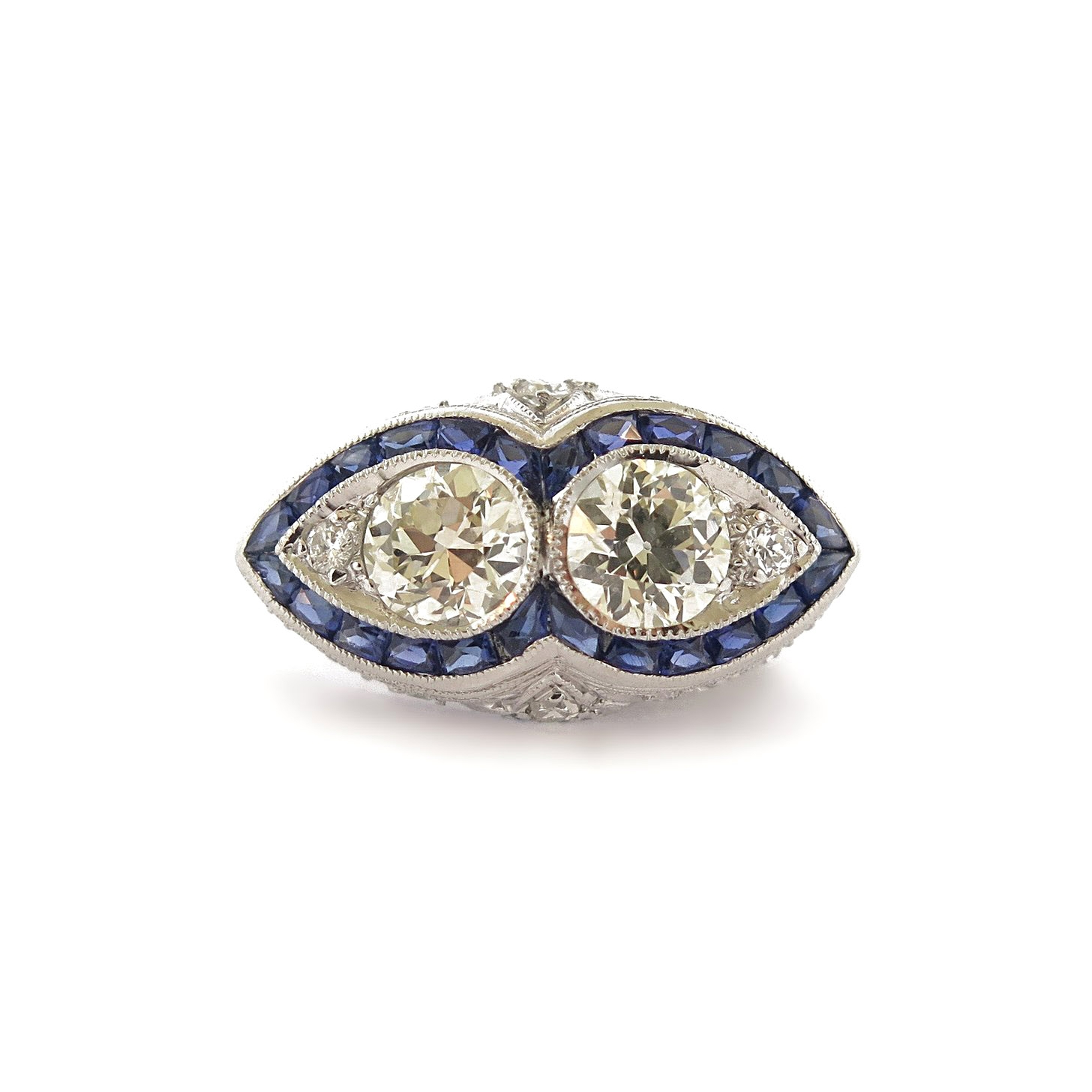 Deco Double Pear Shape Diamond and Sapphire Accents Platinum Ring