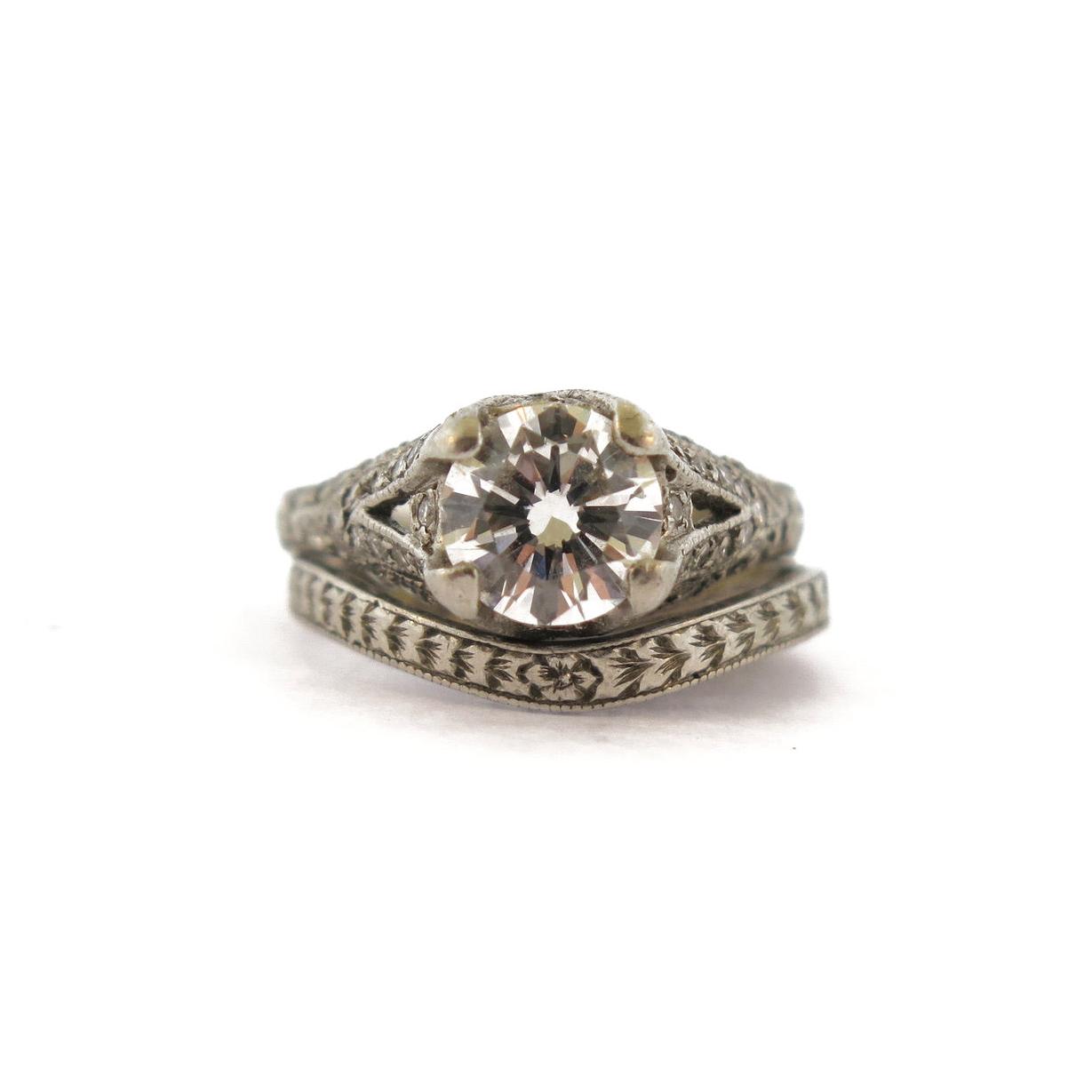 Deco/Edwardian Diamond Platinum Ring Set, Center Diamond 1.05 CT D Color