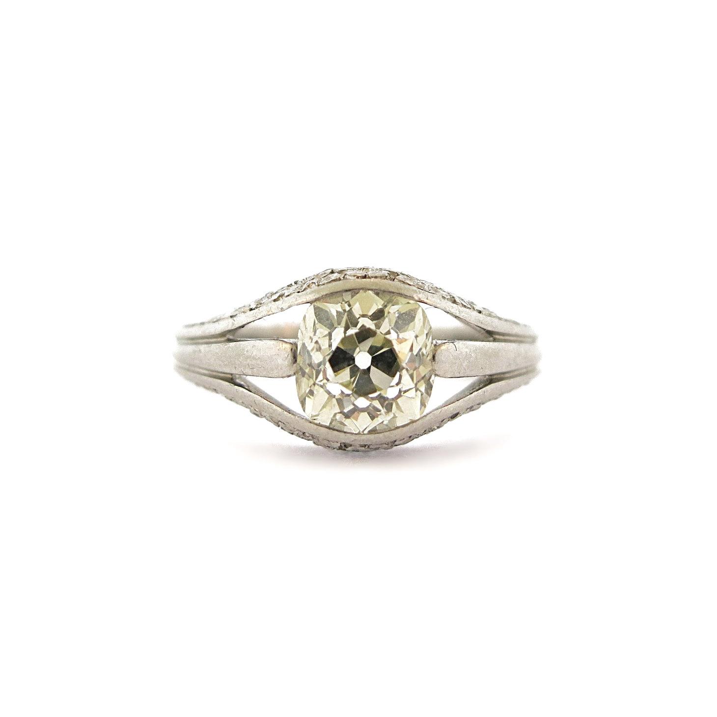 Cushion Diamond Open Work Ring