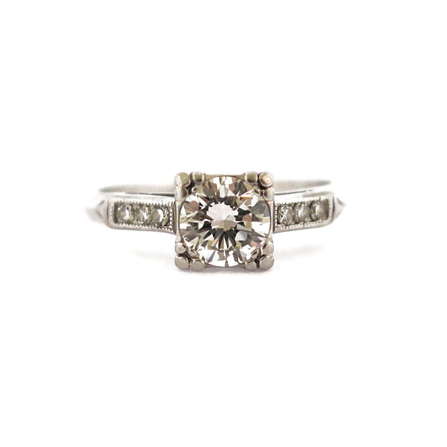 Deco Diamond Platinum Ring