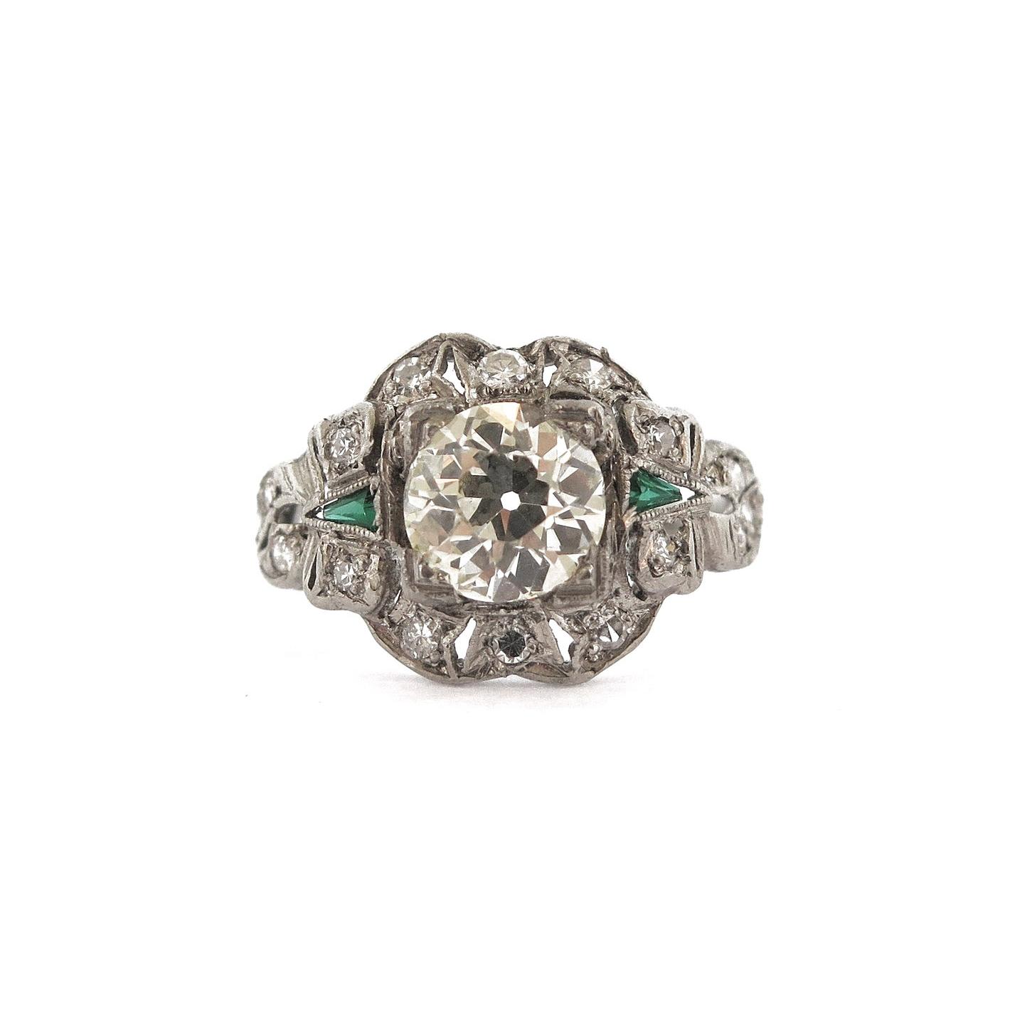 Deco Diamond & Emerald Platinum Ring