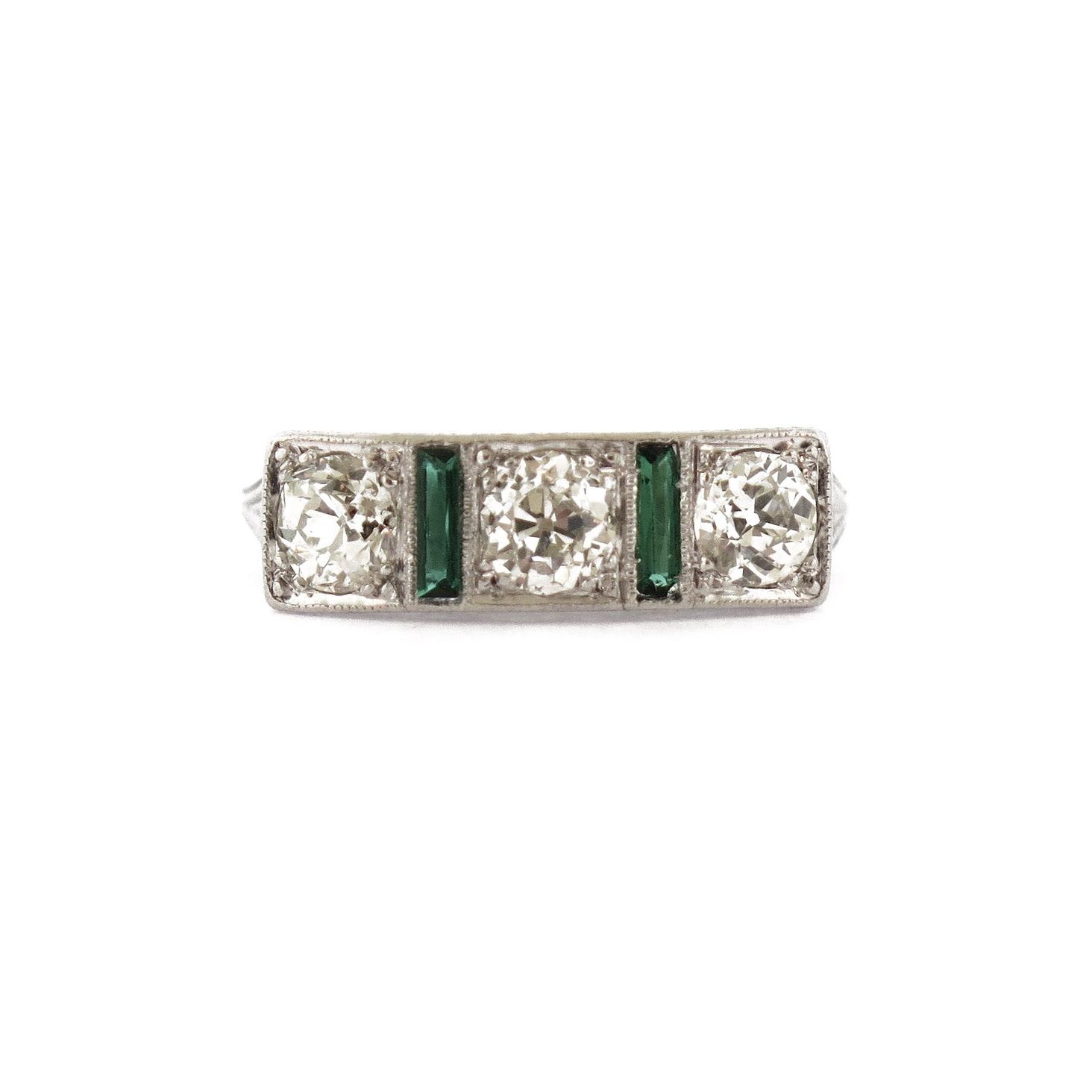 Edwardian Diamonds & Emerald Ring