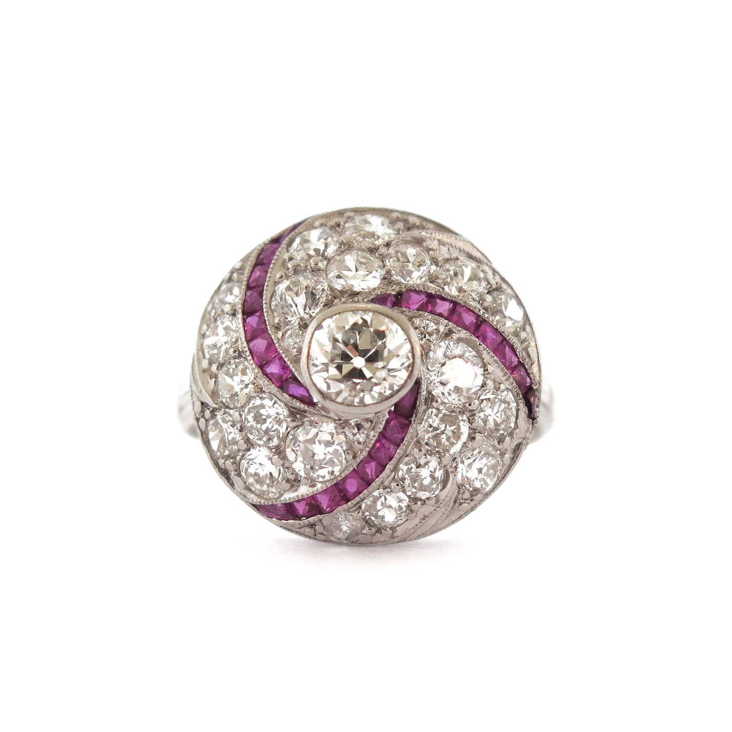 Deco Tornado Ring with Ruby Accents