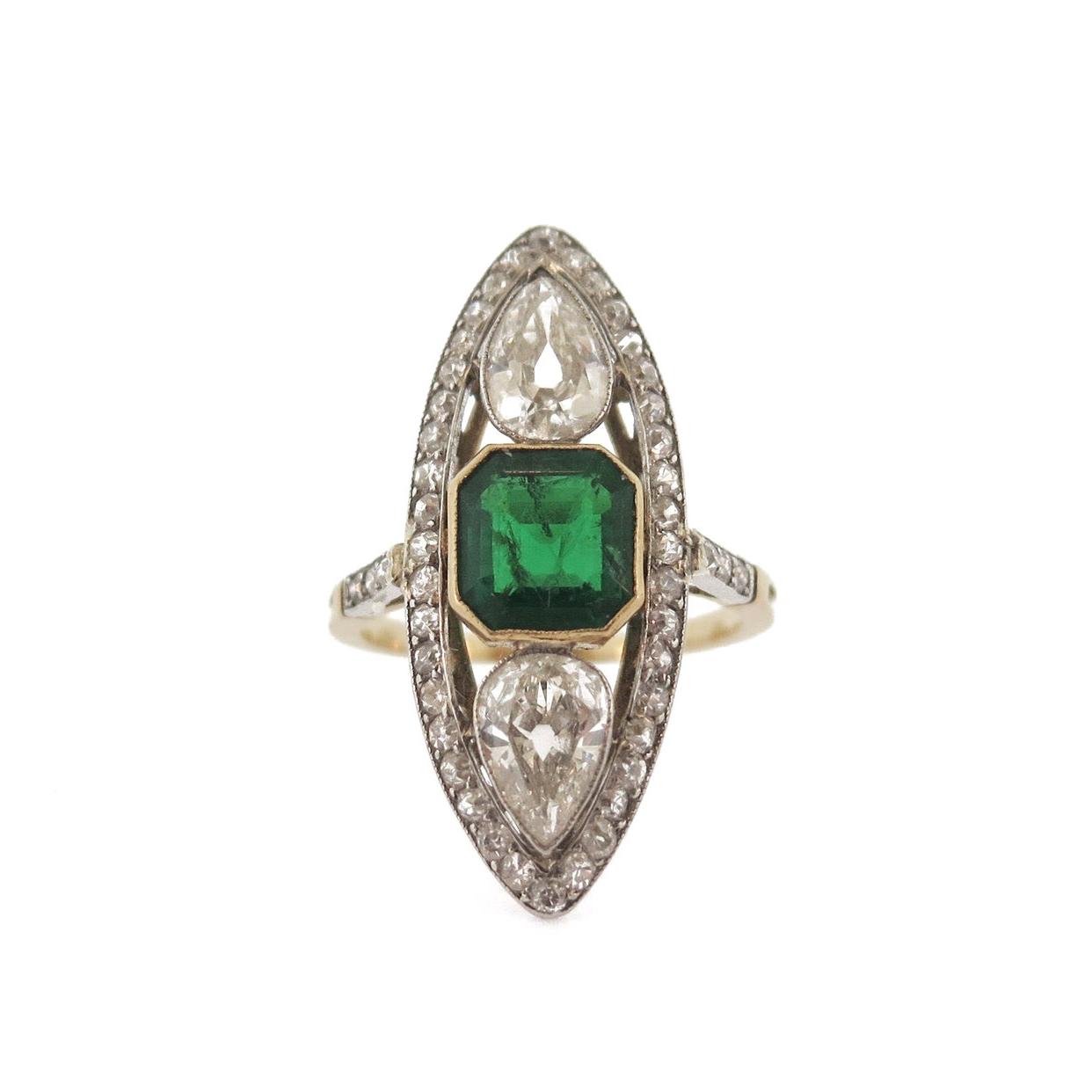Edwardian Colombian Emerald Ring