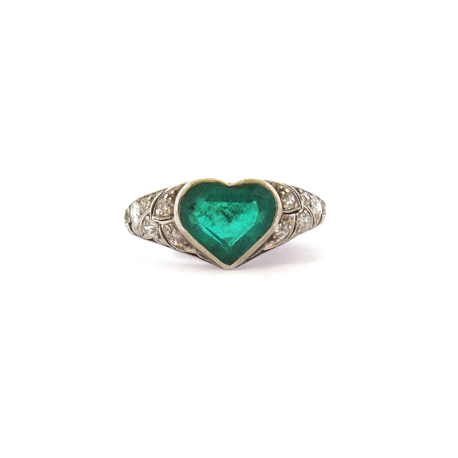 Deco Heart-Shaped Emerald Ring