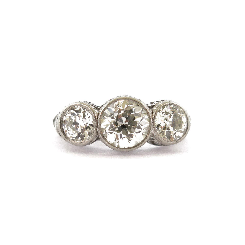 Three Stone Diamond Bezel-Set Ring