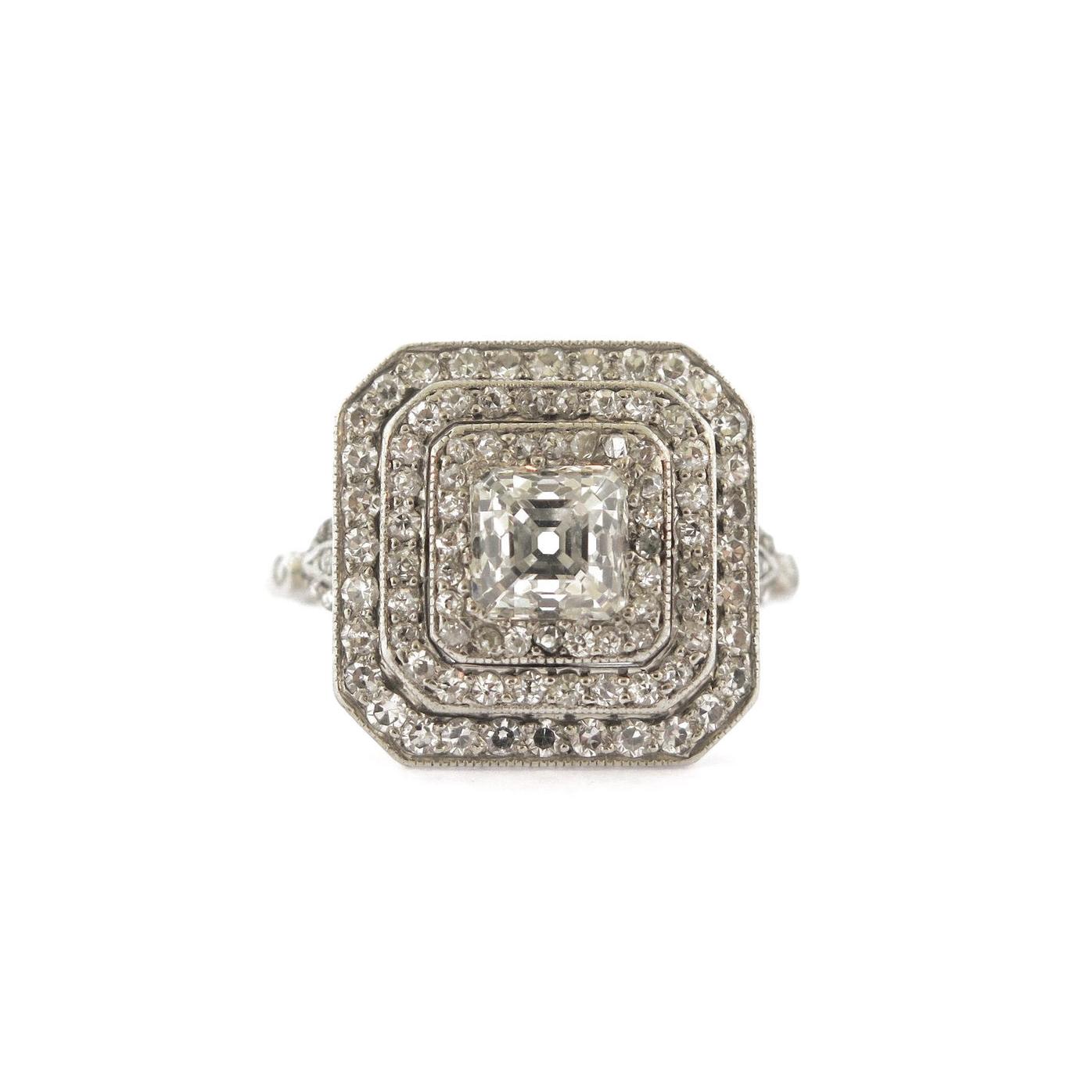 Edwardian Modified Asscher Diamond Platinum Ring