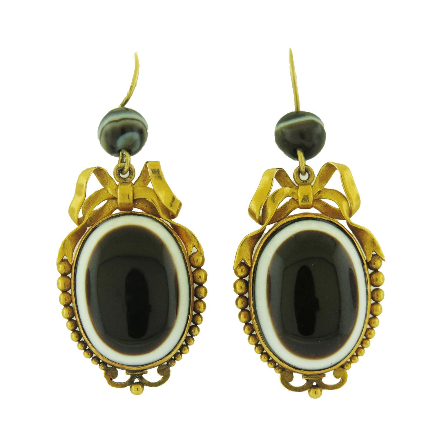 Victorian Banded Agate and Gold Bow Earrings