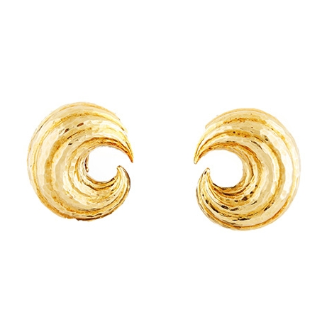 David Webb Hammered Gold Crescent Moon Shaped Earrings