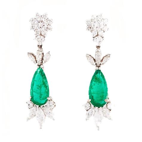 Emerald and Diamond Platinum Drop Earrings