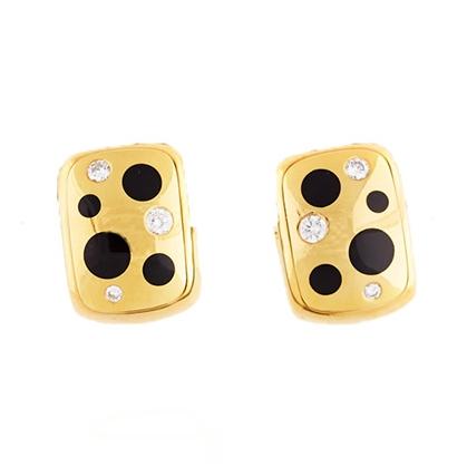 1960s Onyx and Diamond Polka Dot Gold Earrings