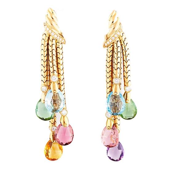 Multi-Color Gem Tassel and Gold Diamond Earrings