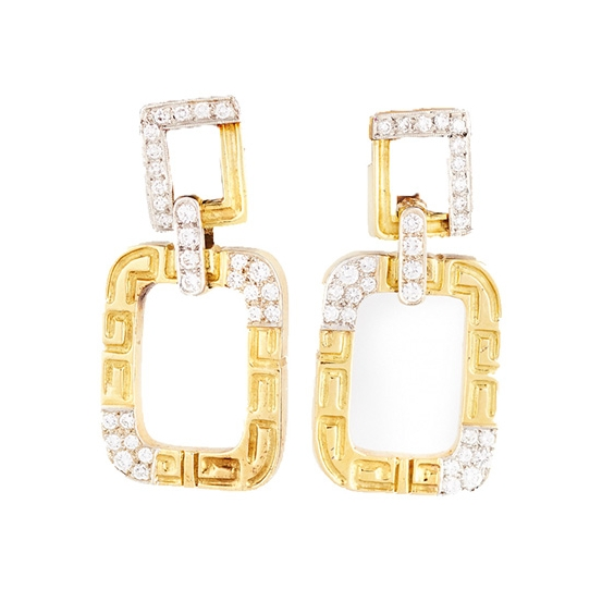 Diamond and Gold Square-Shaped Dangle Earrings