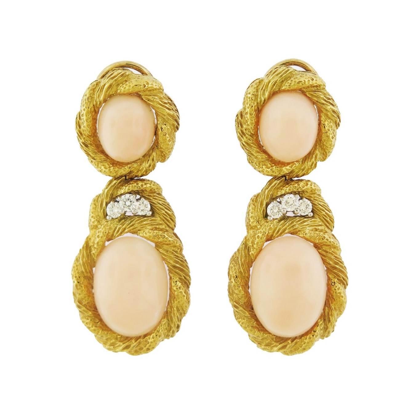 Angel Skin Coral and Gold Earrings