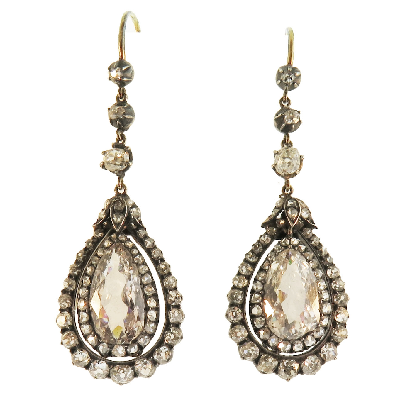 Georgian Pear Shaped Diamond Drop Earrings