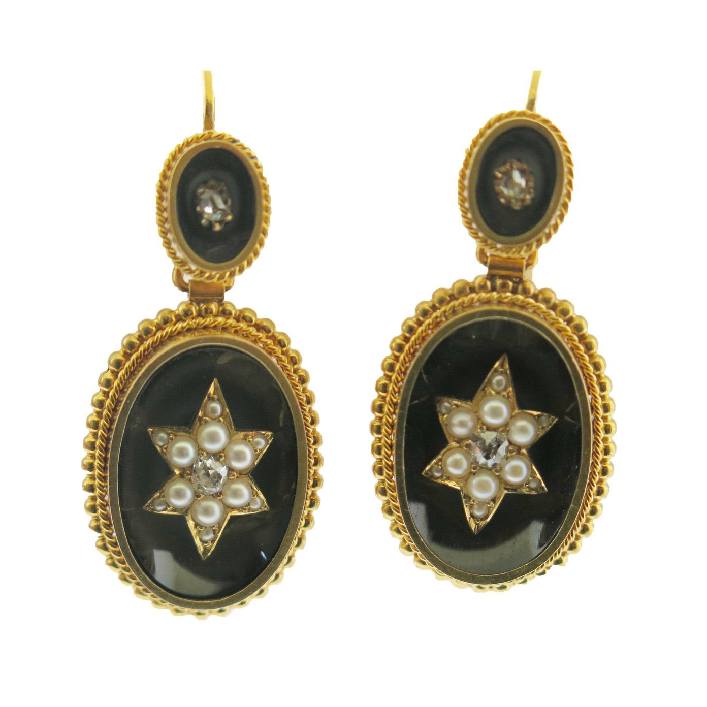 Pearls and Diamonds Agate Beaded Gold Earrings