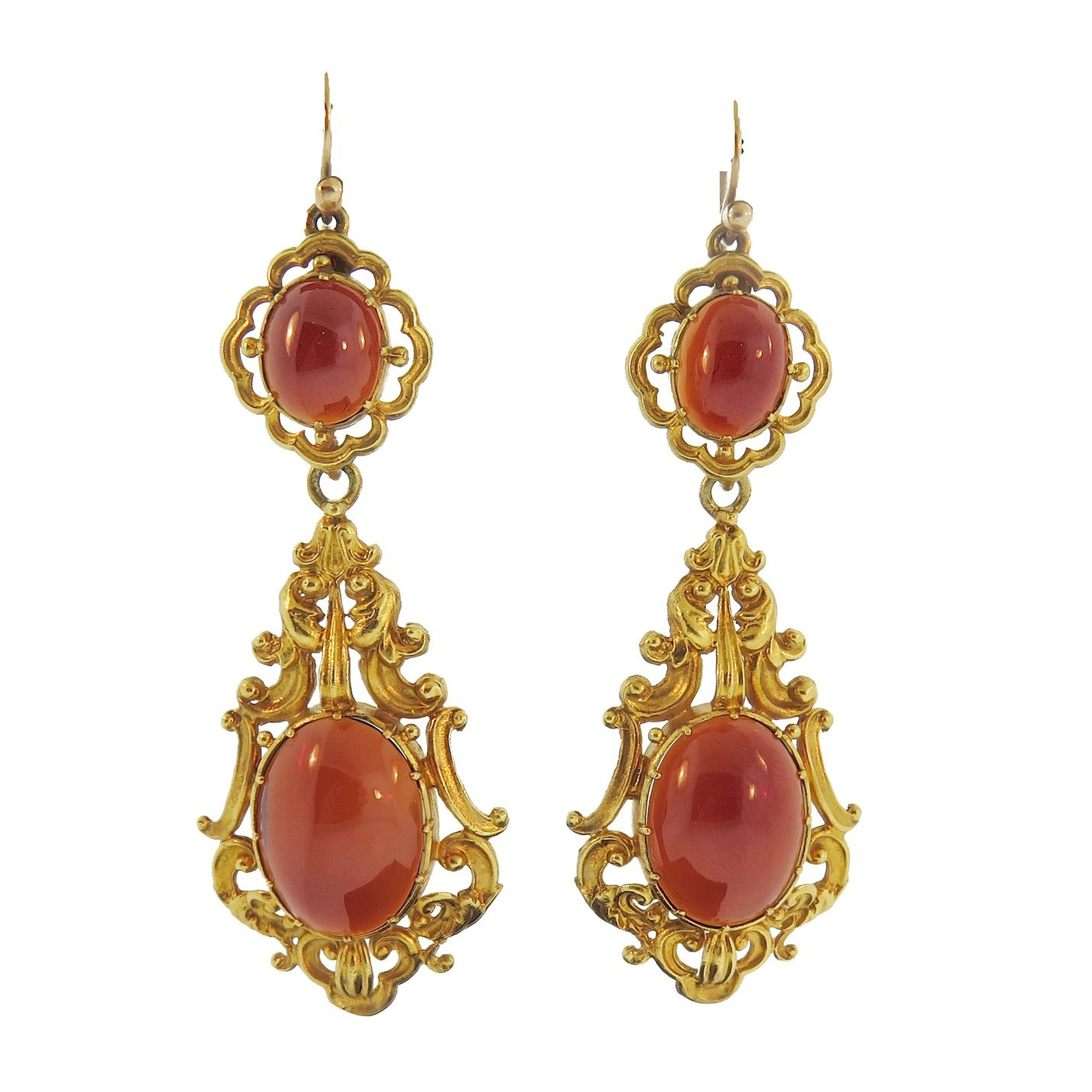 Antique Garnet and Gold Pendant Earrings