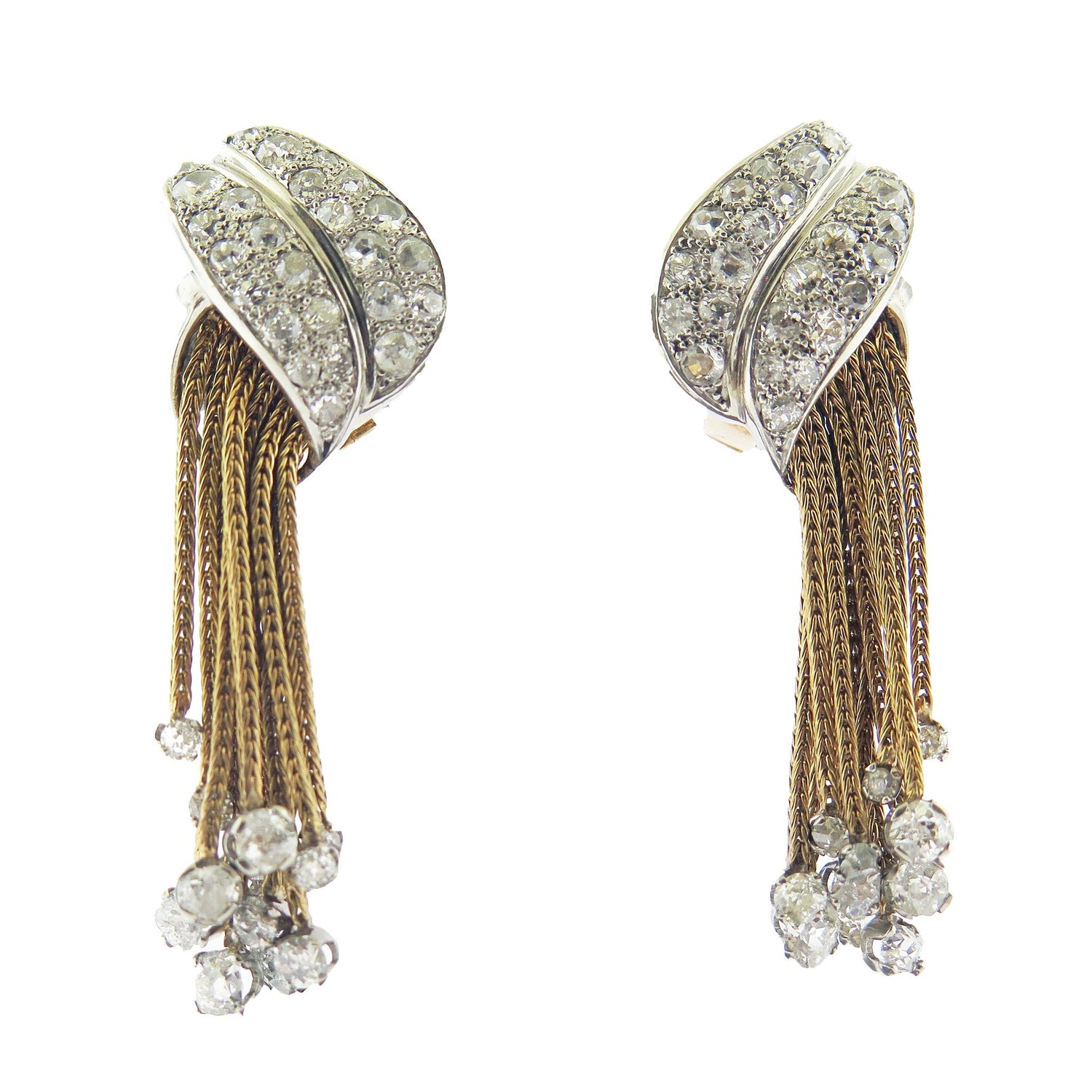 Diamond and Braided Gold Fringe Earrings