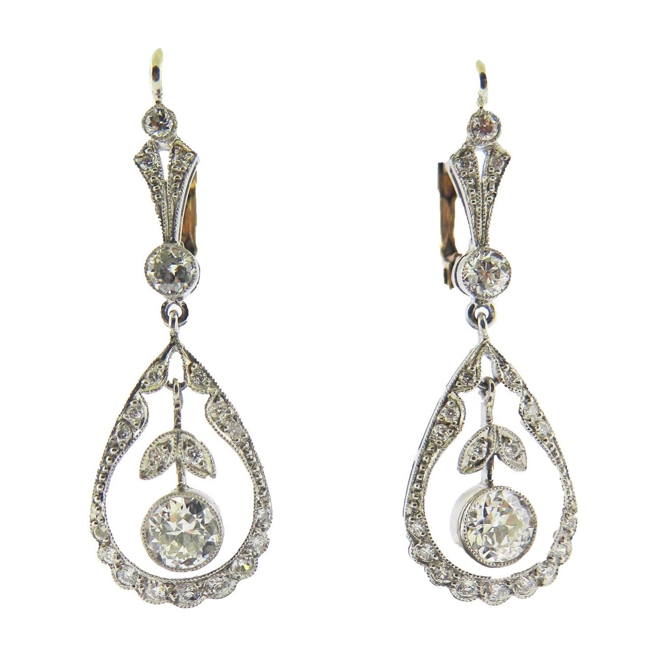 Diamond Open Work Drop Earrings