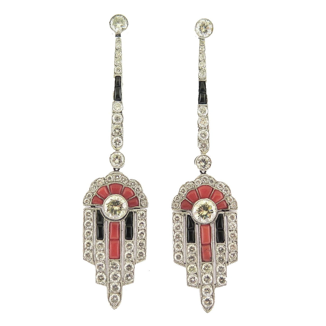 Deco Style Onyx, Coral, and Diamond Ear Pendant