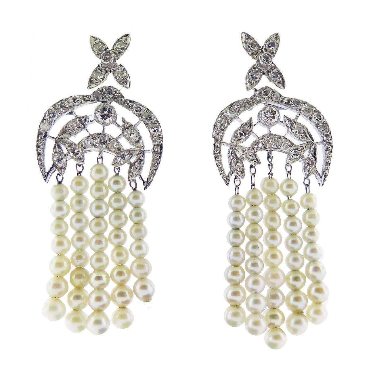 Diamond and Pearl Fringe Earrings