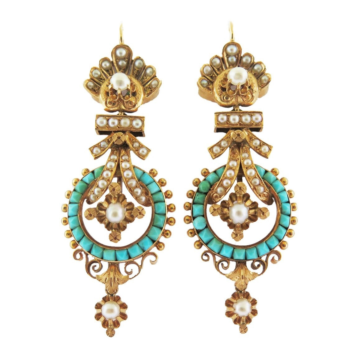 Antique Turquoise and Pearl Gold Earrings