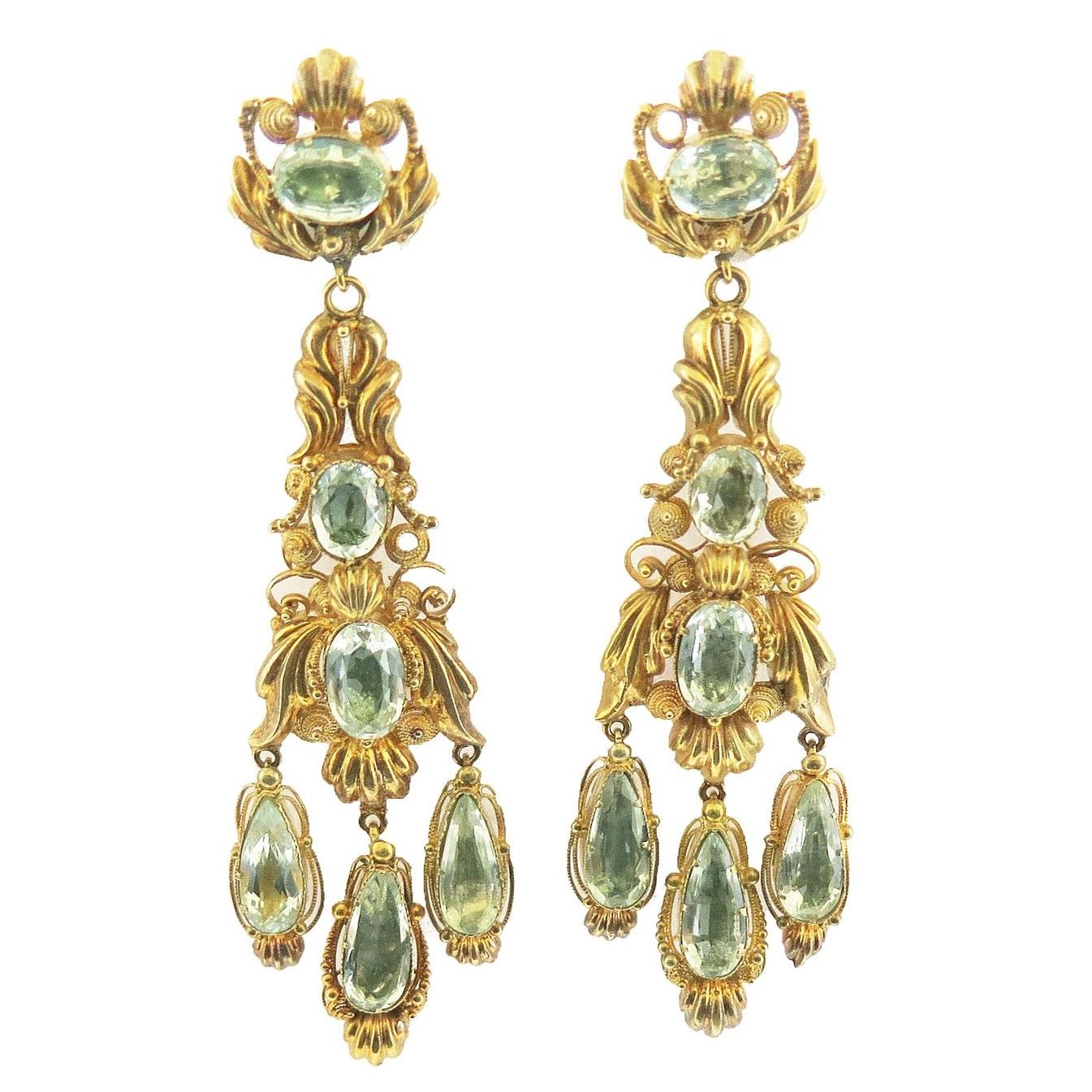 Georgian Repoussè Aquamarine and Gold Earrings