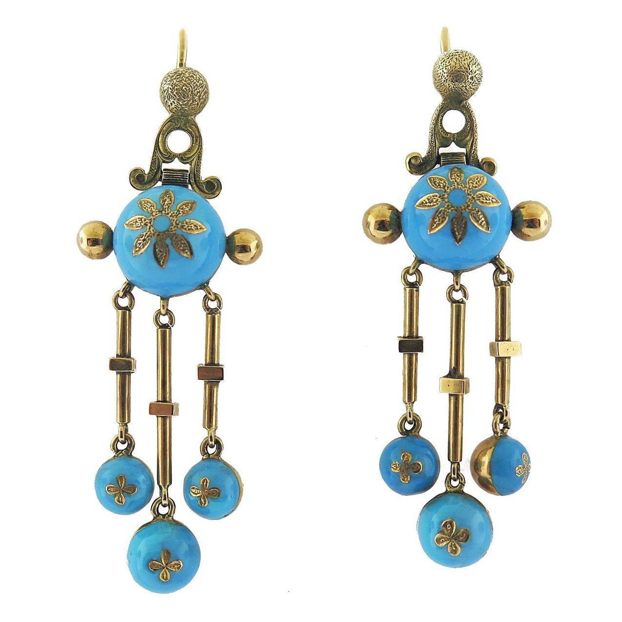 Victorian Turquoise Enamel Tassel Gold Earrings