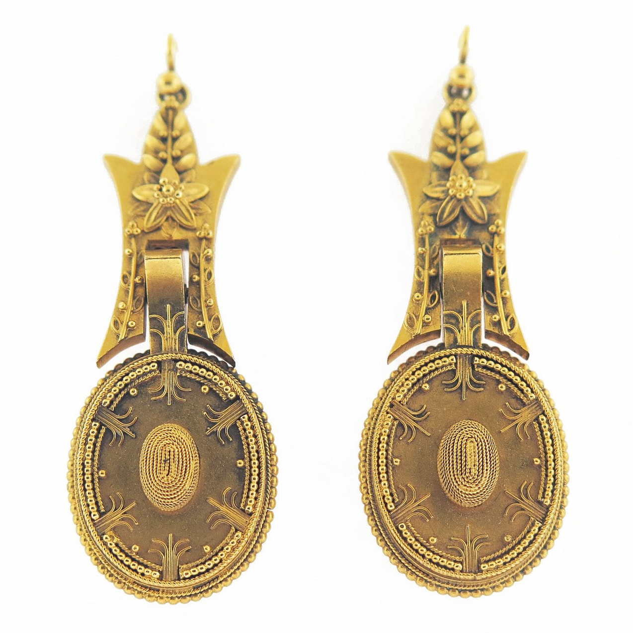 Late 19th Century Etruscan Revival Gold Earrings