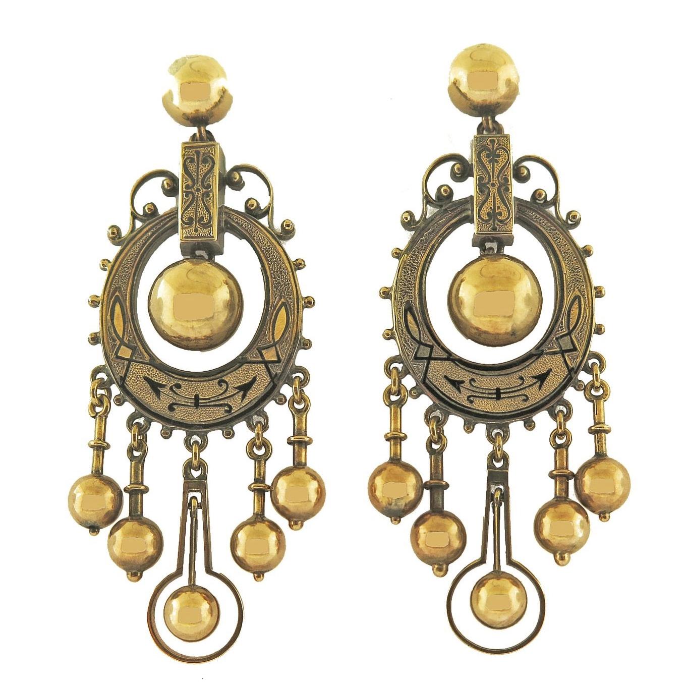 Late 19th Century Black Enamel Tracery Gold Tassel Earrings