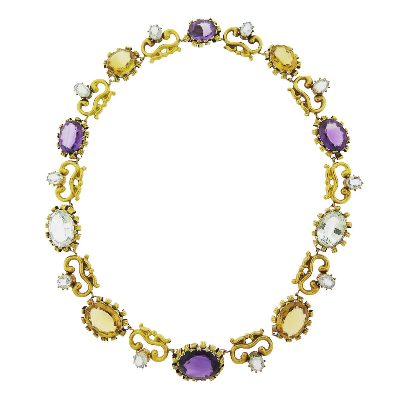 Victorian Multi Gem Set Necklace