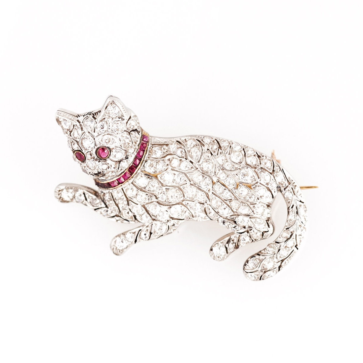 Edwardian Platinum, Ruby, and Diamond Cat Brooch