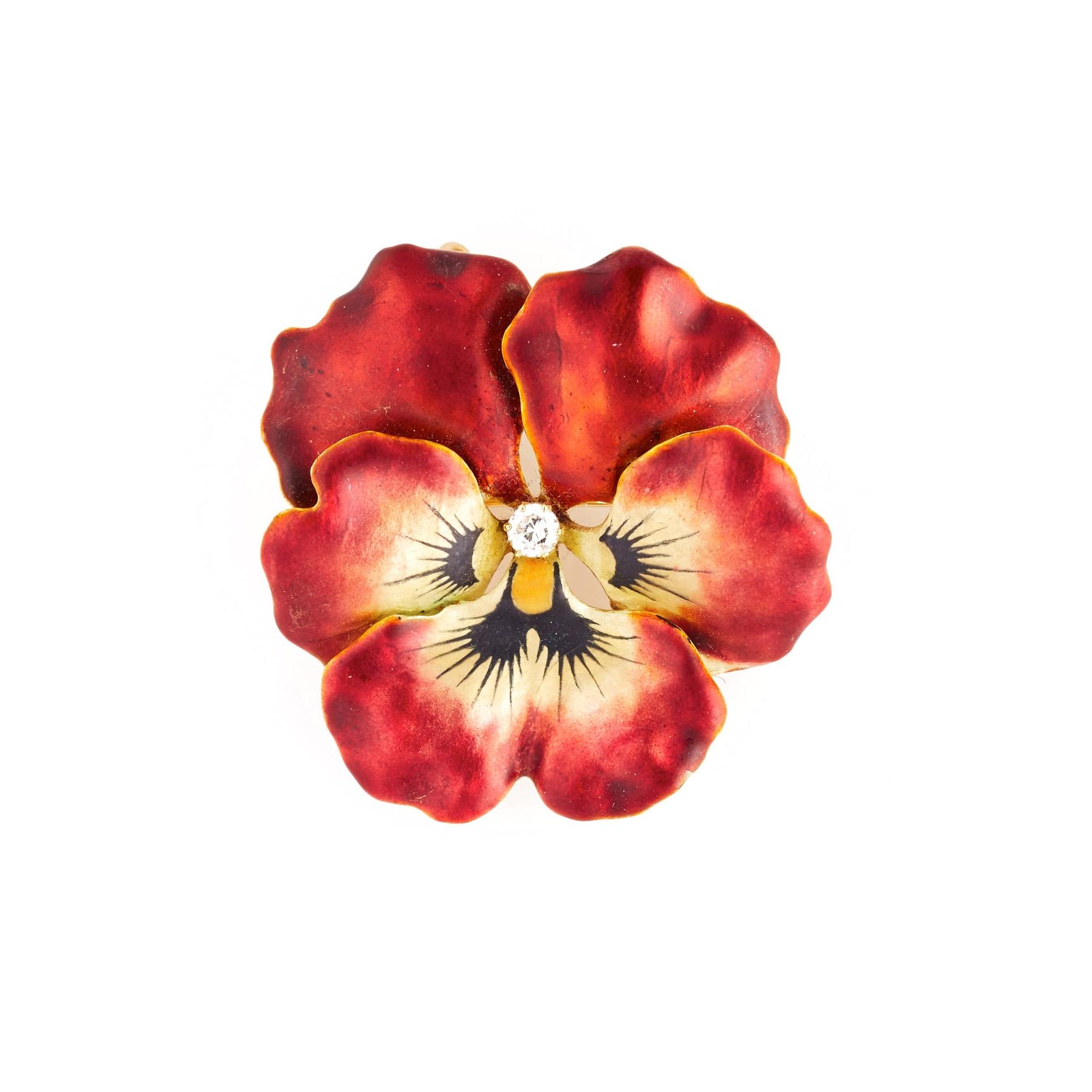Victorian Enamel and Diamond Flower Brooch
