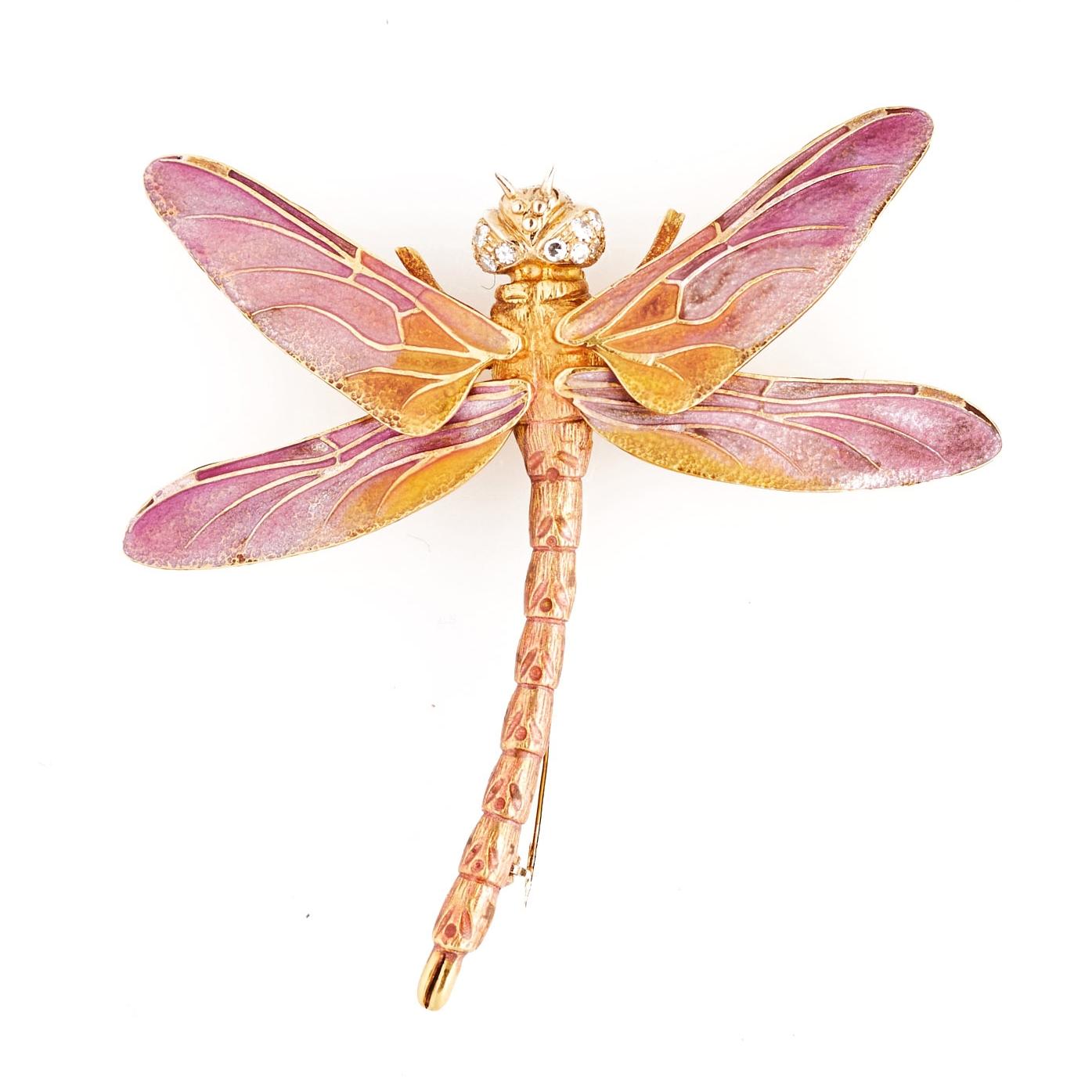 1960s Tiffany Enamel and Gem-Set Butterfly Brooch