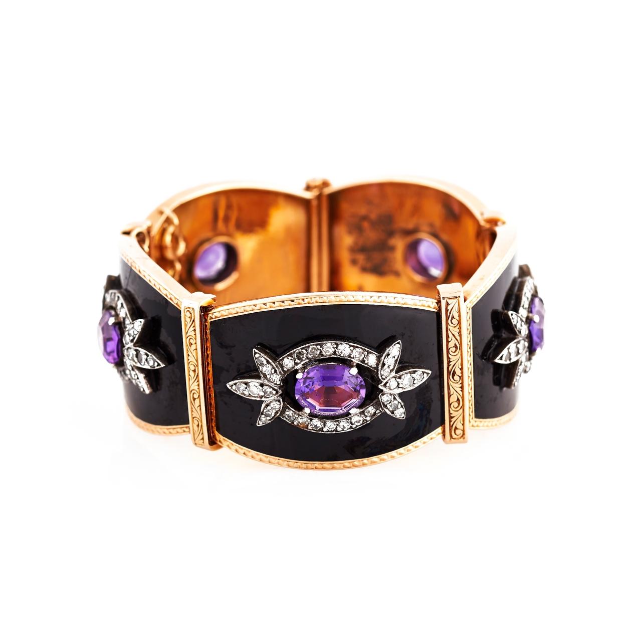 Black Enamel, Amethyst, and Diamond Gold Bracelet