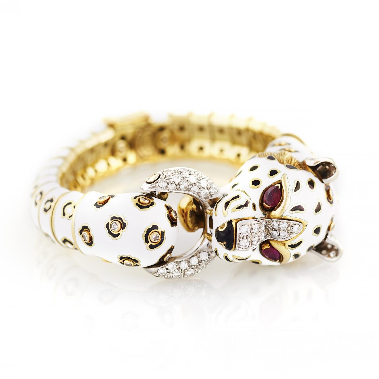 Frascarolo Enamel, Gold, and Diamond Tiger Bangle