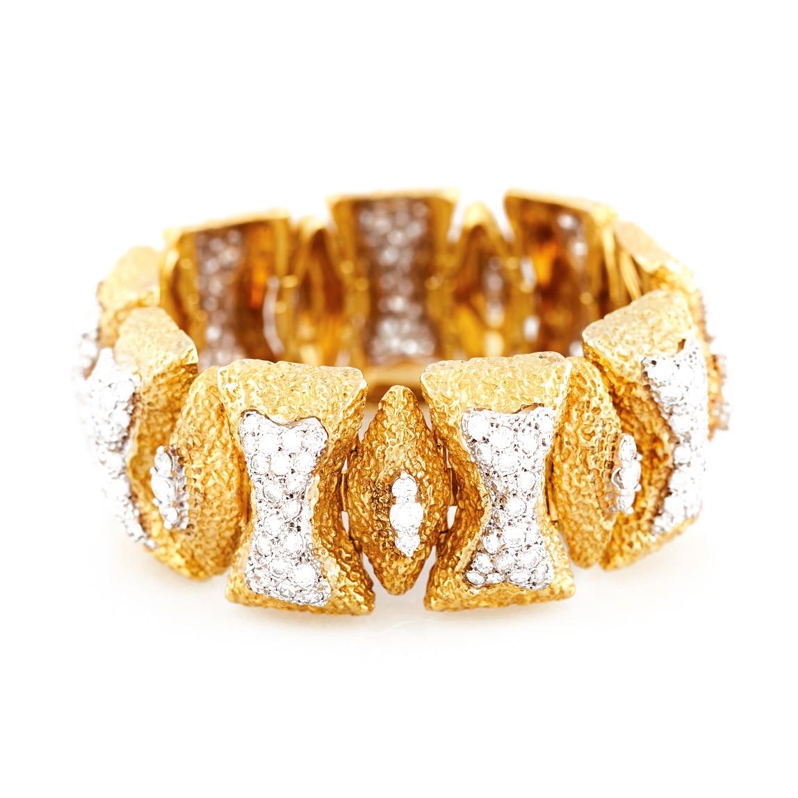 Mid-Century Diamond and Gold Link Bracelet