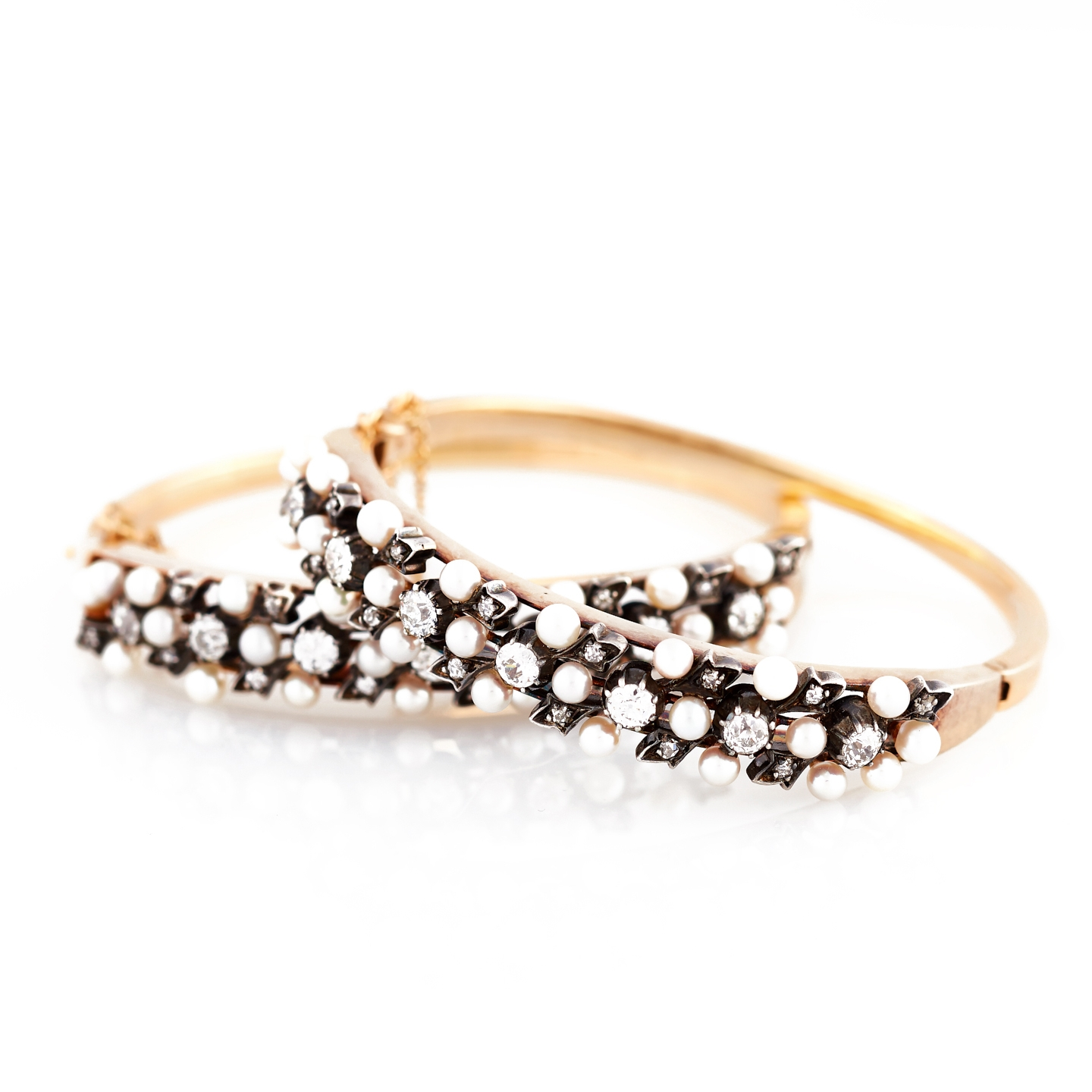 Antique Diamond and Pearl Gold Bangles
