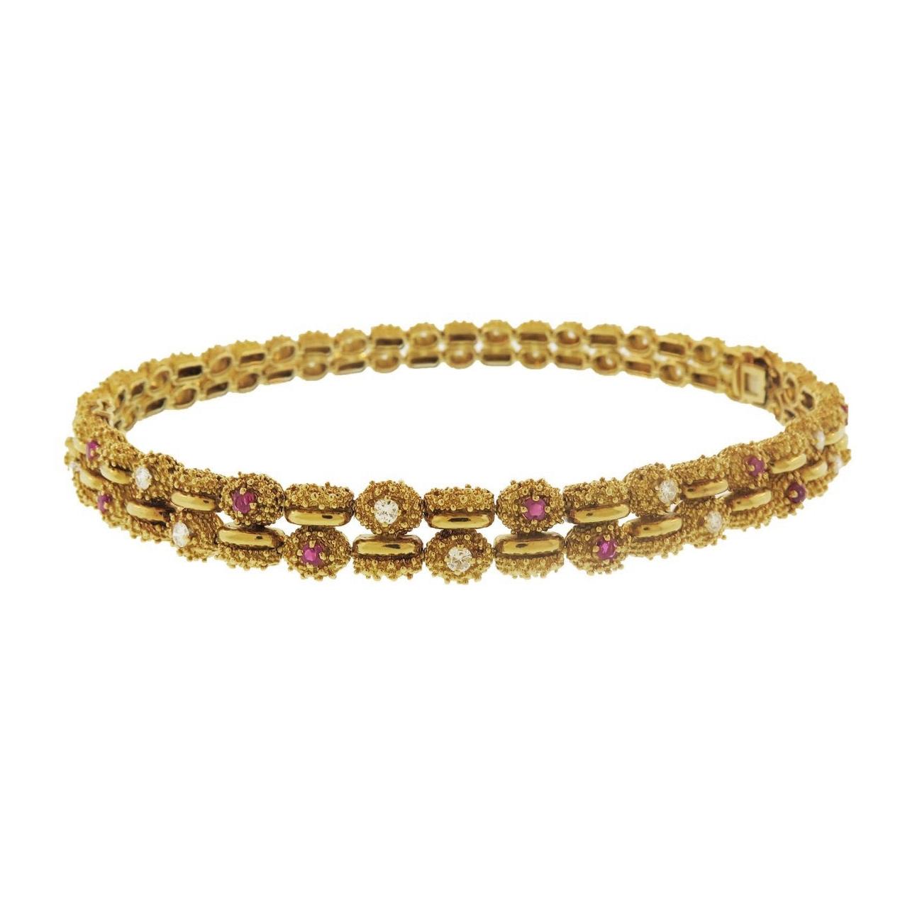 Tiffany & Co. 1960s Diamond and Ruby Link Bracelet