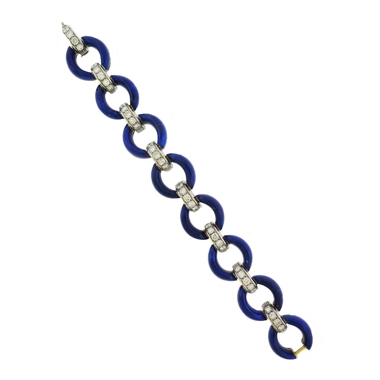 Lapis Lazuli and Diamond Bracelet
