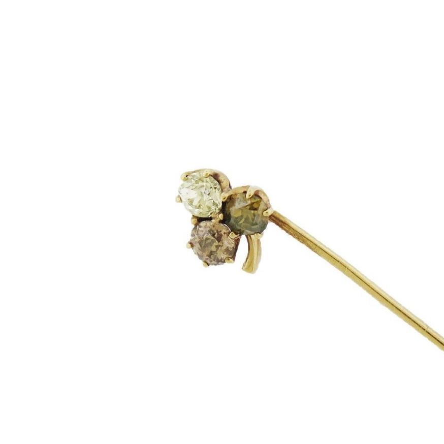 Diamond Three-Stone Clover Stick Pin